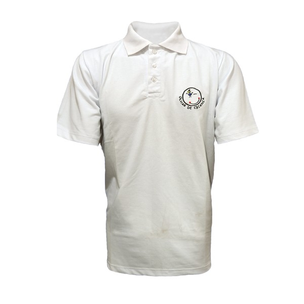 Camiseta Pólo em Piquet branca c/ bordado